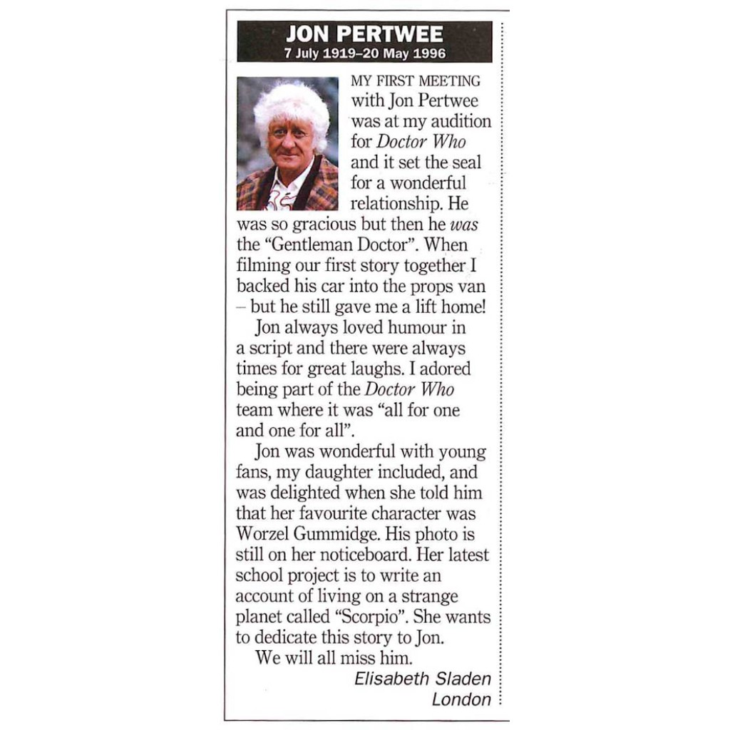 RT Jon Pertwee obit 1 June 1996