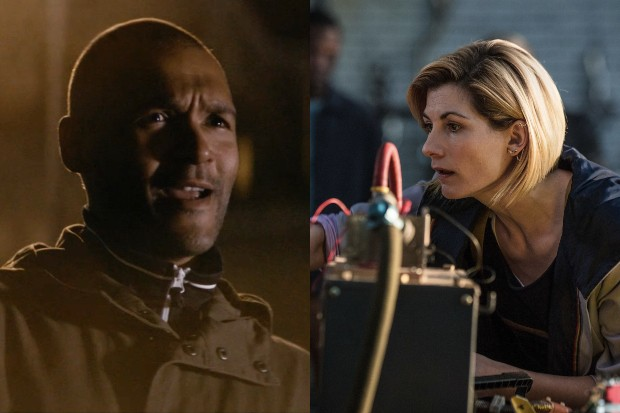 """Philip Abiodun as Doctor Who's """"salad man"""" with Jodie Whittaker"""