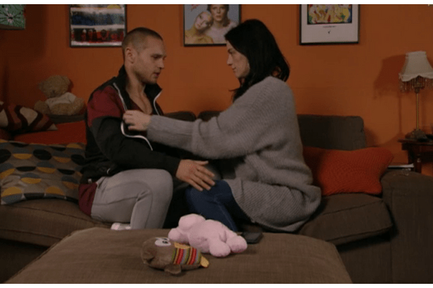 Hayley (Katie Jarvis) and Keanu (Danny Walters) get ready to have sex on EastEnders