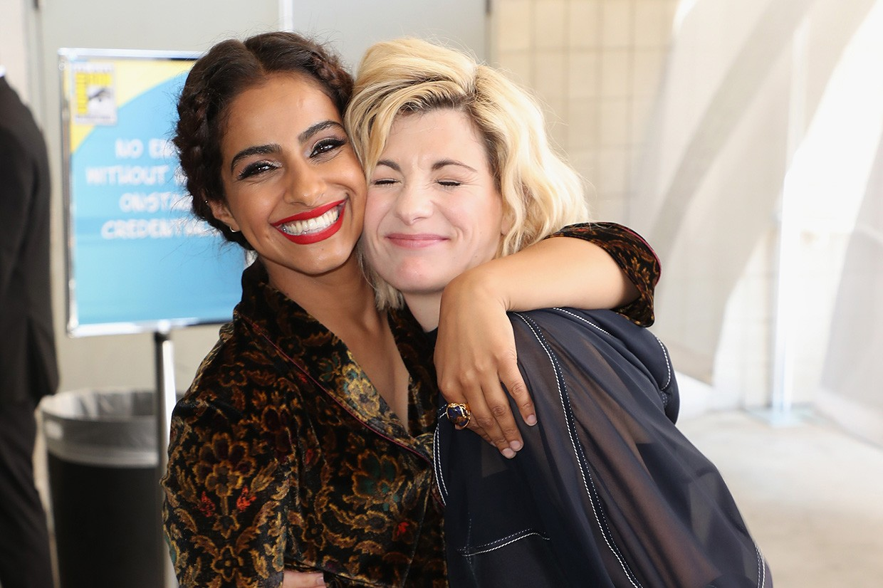 SAN DIEGO, CA - JULY 19:  Mandip Gill (L) and Jodie Whittaker attend the Doctor Who: BBC America's Official panel during Comic-Con International 2018 at San Diego Convention Center on July 19, 2018 in San Diego, California.  (Photo by Joe Scarnici/Getty Images for BBC America)