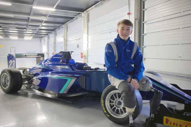 Programme Name: Driven - The Billy Monger Story - TX: n/a - Episode: n/a (No. n/a) - Picture Shows: Billy with his custom single seater race car   - (C) Oxford Scientific Films  - Photographer: Caroline Hawkins