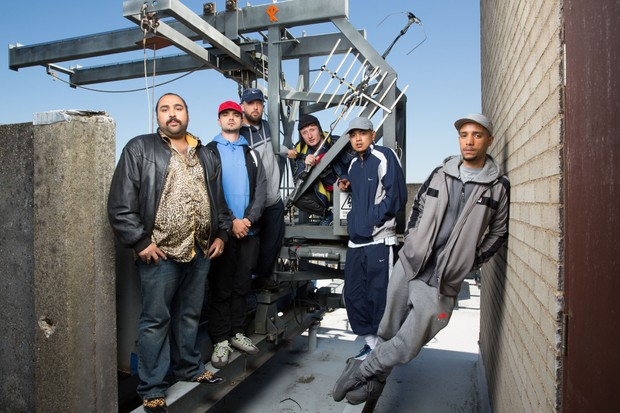 Programme Name: People Just Do Nothing - TX: n/a - Episode: Generic (No. n/a) - Picture Shows: Chabuddy (ASIM CHAUDRY), Grindah (ALLAN 'SEAPA' MUSTAFA), Beats (HUGO CHEGWIN), Steves (STEVE STAMP), Fantasy (MARVIN JAY ALVAREZ), Decoy (DANIEL SYLVESTER WOOLFORD) - (C) Roughcut Television - Photographer: Jack Barnes
