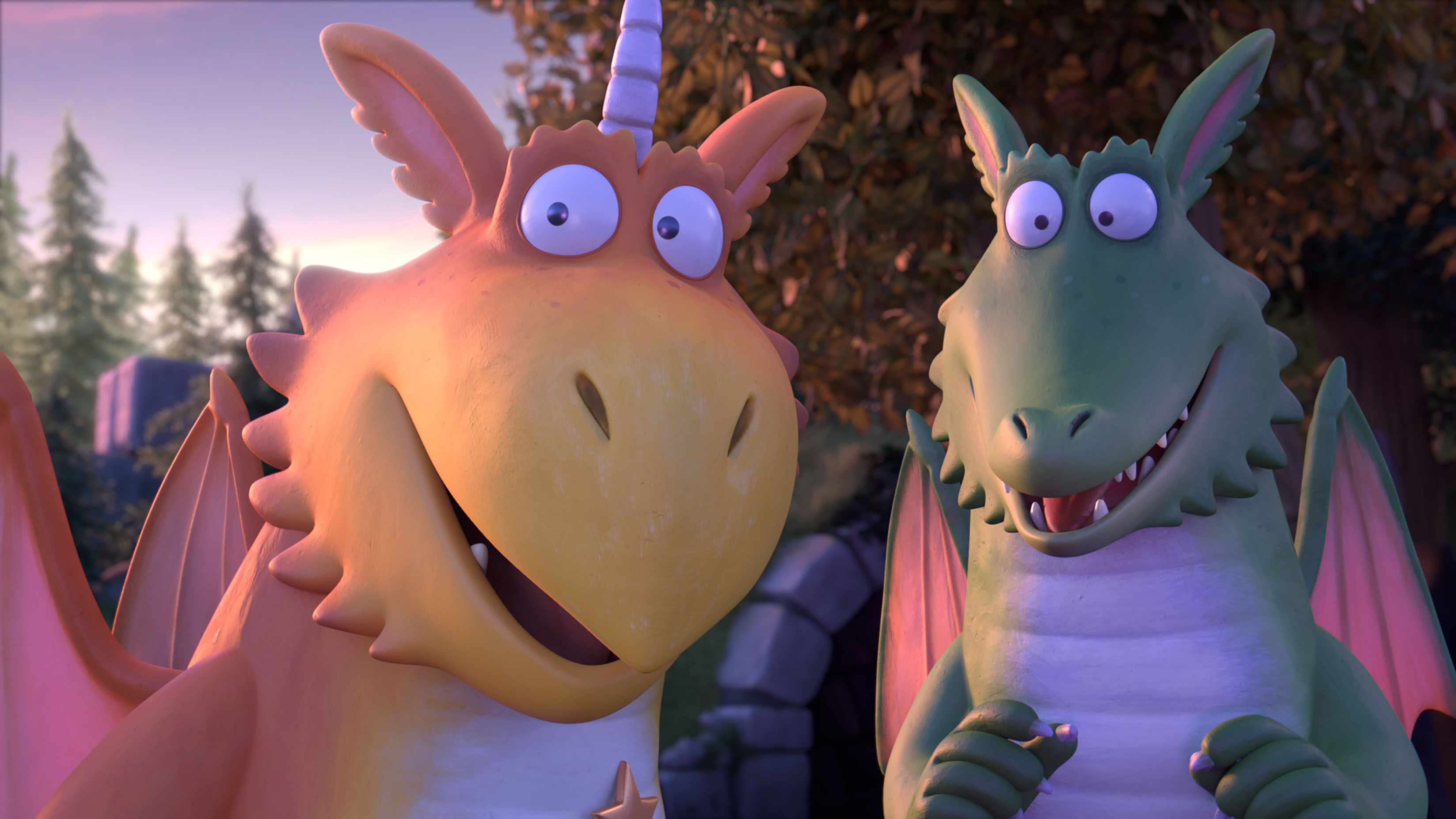 Programme Name: Zog - TX: n/a - Episode: Zog - Early Release Pic (No. n/a) - Picture Shows: Zog voiced by Hugh Skinner and Madam Dragon voiced by Tracey Ullman.  - (C) Magic Light - Photographer: Magic Light