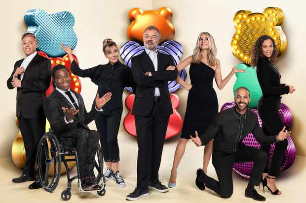 Programme Name: BBC Children In Need 2018 - TX: n/a - Episode: BBC Children In Need - Generics (No. n/a) - Picture Shows:  Rob Beckett, Ade Adepitan, Mel Giedroyc, Graham Norton, Tess Daly, Marvin Humes, Rochelle Humes - (C) BBC - Photographer: Ray Burmiston
