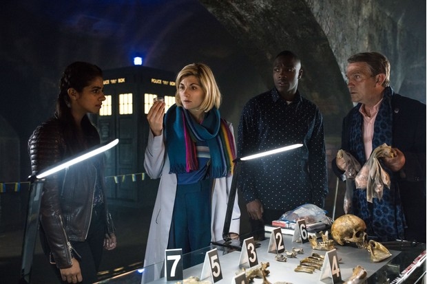 WARNING: Embargoed for publication until 00:00:01 on 27/11/2018 - Programme Name: Doctor Who Series 11 - TX: n/a - Episode: Special (No. n/a) - Picture Shows: **EARLY RELEASE IMAGE** **Strictly Embargoed until 27/11/2018 00:00:01** Yaz (MANDIP GILL), The Doctor (JODIE WHITTAKER), Ryan (TOSIN COLE), Graham (BRADLEY WALSH) - (C) BBC/ BBC Studios - Photographer: Sophie Mutevelian