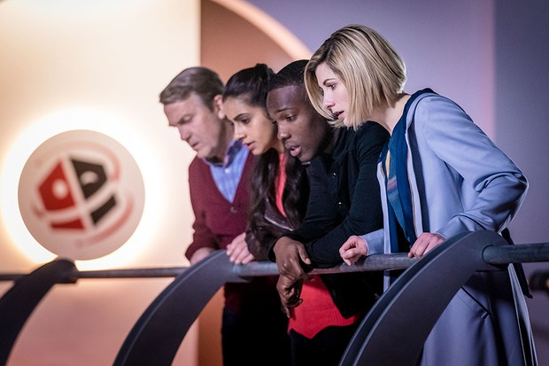 Bradley Walsh, Mandip Gill, Tosin Cole and Jodie Whittaker in Doctor Who: Kerblam! (BBC)