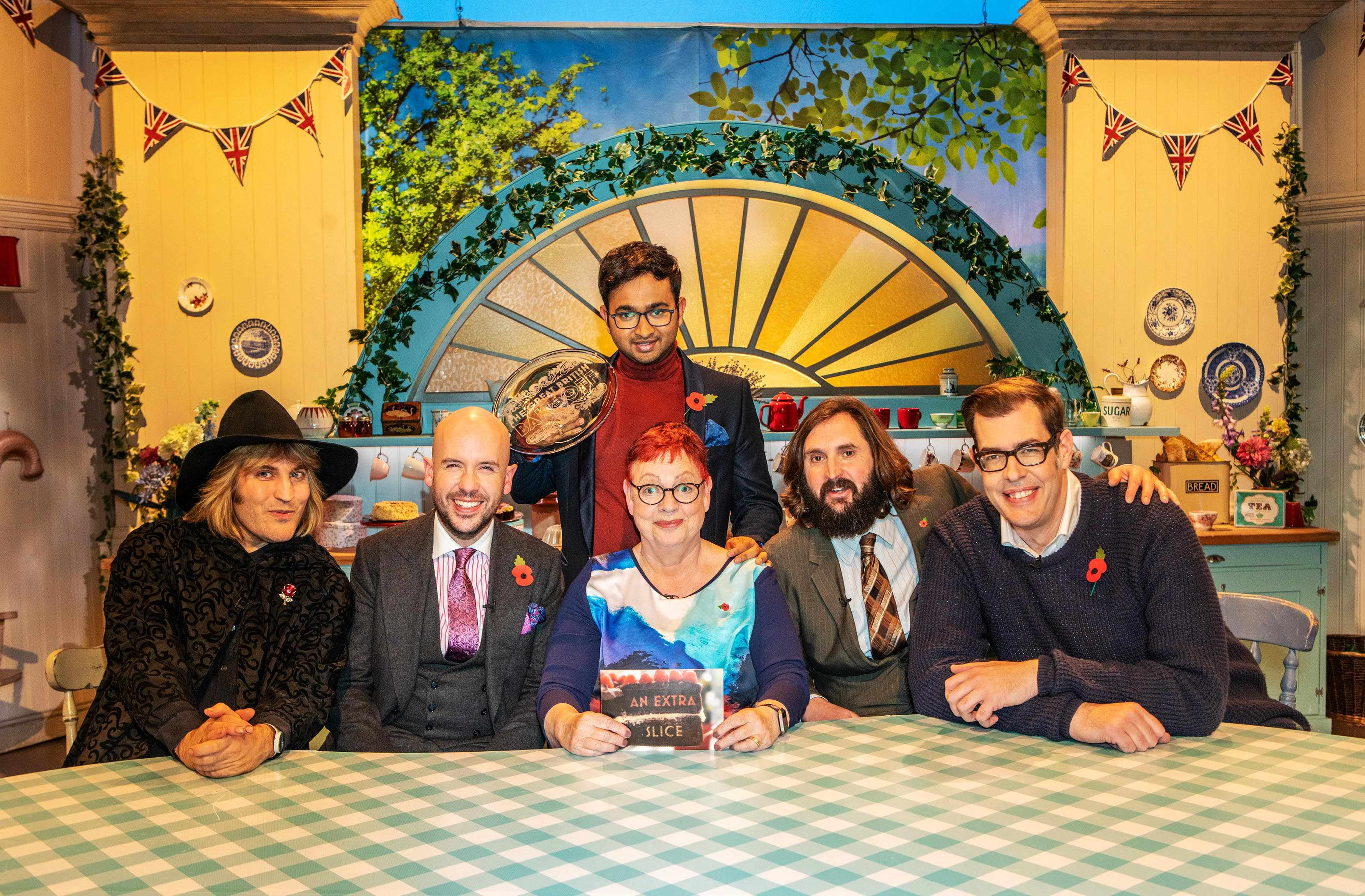 Noel Fielding, Tom Allen, Rahul, Jo Brand, Joe Wilkinson and Richard Osman in Great British Bake Off An Extra Slice