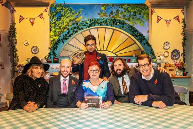 Noel Fielding, Tom Allen, Rahul, Jo Brand, Joe Wilkinson and Richard Osman in Great British Bake Off An Extra Slice