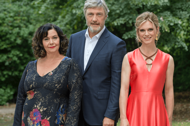 Dawn French, Vincent Regan and Emilia Fox from Delicious series 4, Sky publicity photo, BD