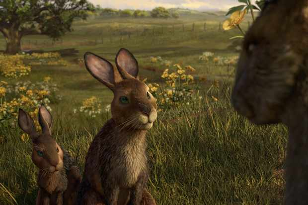 Fiver (Nicholas Hoult) and Hazel (James McAvoy) ask Bigwig (John Boyega) if he can speak to The Threarah in Watership Down