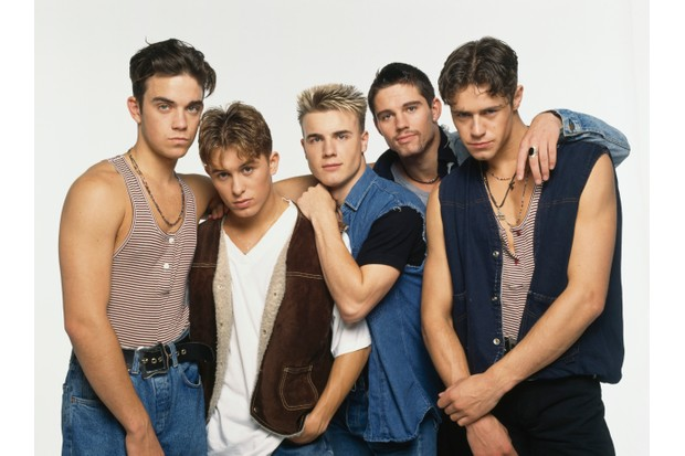 Take That, circa 1992. Left to right: Robbie Williams, Mark Owen, Gary Barlow, Jason Orange and Howard Donald.
