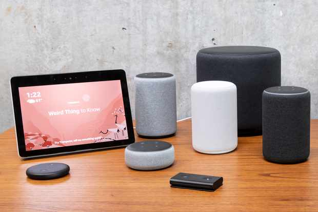 "SEATTLE, WA - SEPTEMBER 20: An assortment of newly launched devices, including, an ""Echo Input,"" ""Echo Show, ""Echo Plus,"" ""Echo Sub,"" ""Echo Auto"" and ""Firetv Recast"" are pictured at Amazon Headquarters, follownig a launch event, on September 20, 2018 in Seattle Washington. Amazon launched more than 70 Alexa-enable products during the event. (Photo by Stephen Brashear/Getty Images)  TL"