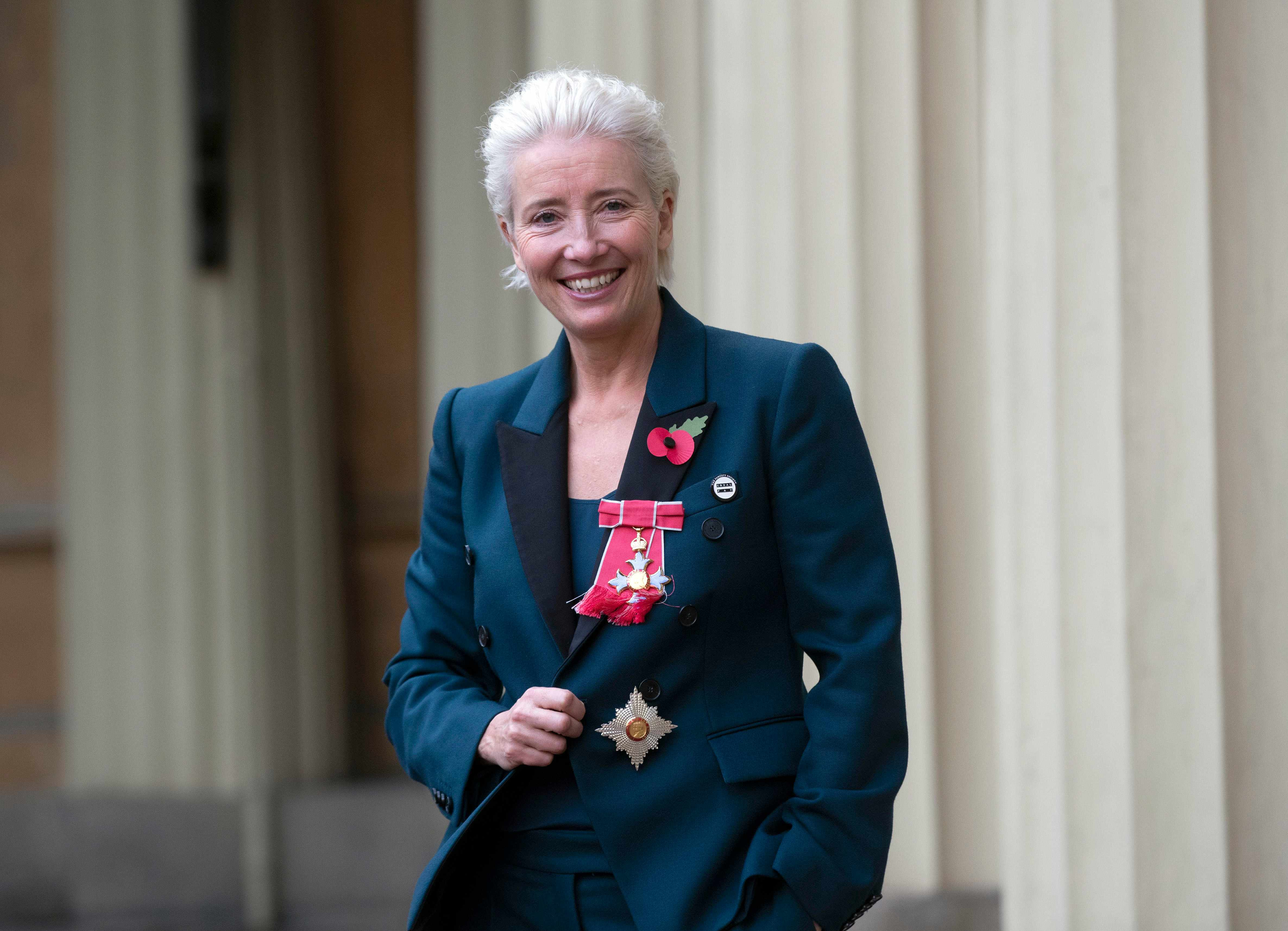 LONDON, ENGLAND - NOVEMBER 7:  Actress Emma Thompson leaves Buckingham Palace after receiving her damehood at an Investiture ceremony on November 7, 2018 in London, England. Ms Thompson, 59, received the accolade in recognition of her services to drama. (Photo by Steve Parsons - WPA Pool/Getty Images) TL
