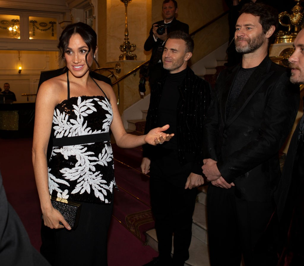 Gary Barlow, Howard Donald and Mark Owen of Take That greet Meghan, Duchess of Sussex at The Royal Variety Performance 2018 (Getty)