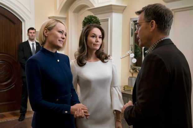 Claire Underwood (Robin Wright), Annette (Diane Lane) and Bill Shepherd (Greg Kinnear) in House of Cards season six (Netflix)