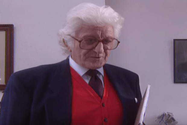 John Pertwee (reading cue cards) in The Airzone Solution