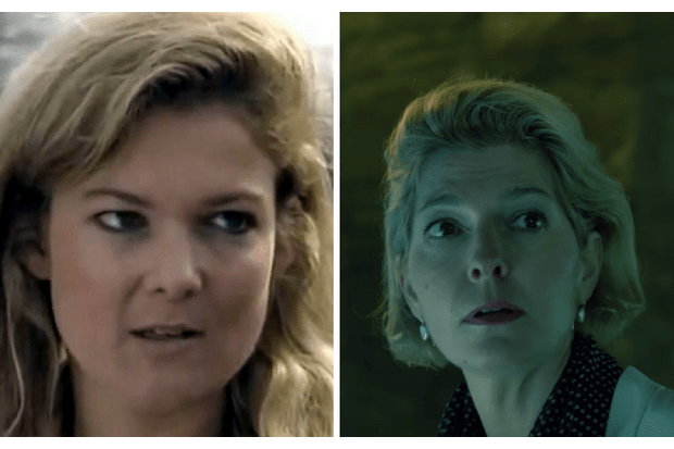 Kate Stewart in Downtime (L) and in Doctor Who (R)