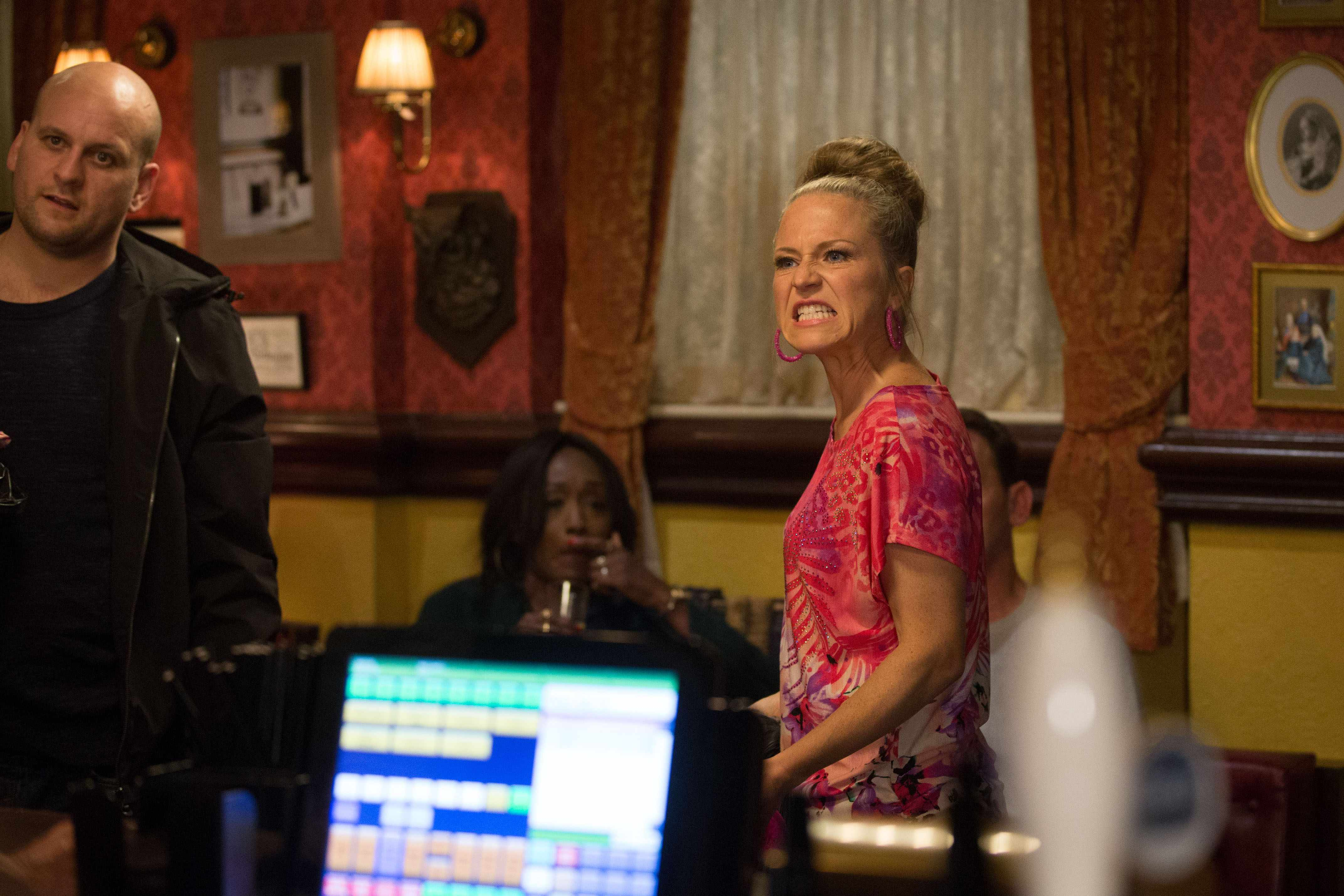Linda (Kellie Bright) is thrown out of the Queen Vic on EastEnders
