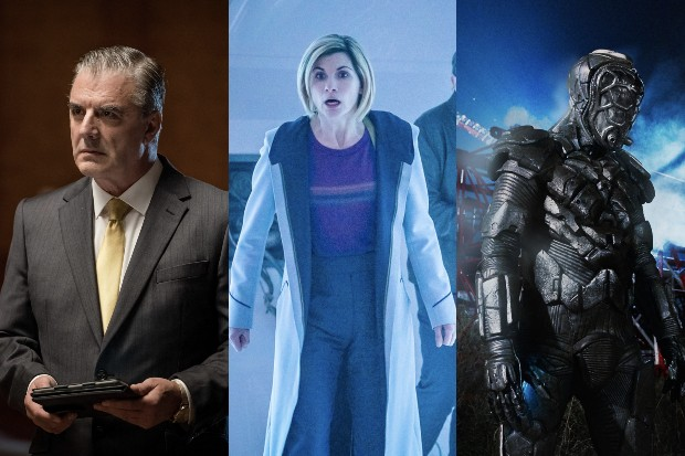 Chris Noth, Jodie Whittaker and Samuel Oatley in Doctor Who (BBC)