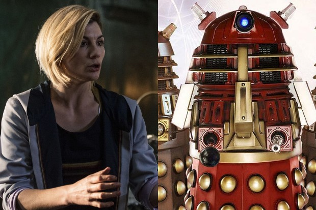 Jodie Whittaker and a Dalek Supreme (Doctor Who, BBC)
