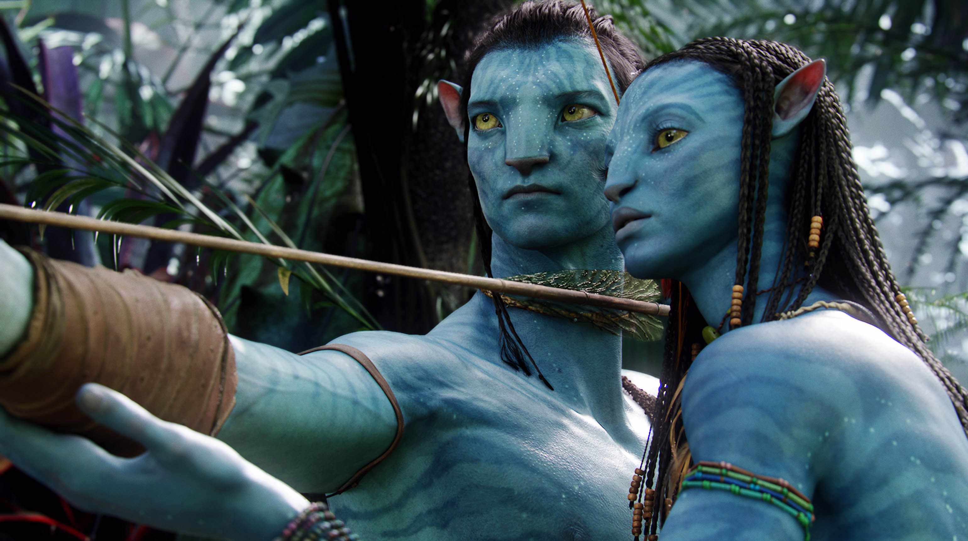 Neytiri (Zoë Saldana, right) teaches Jake (Sam Worthington) in Avatar (Sky, EH)