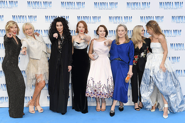 Judy Cramer (second from the left) with the cast of Mamma Mia: Here We Go Again! (Getty)