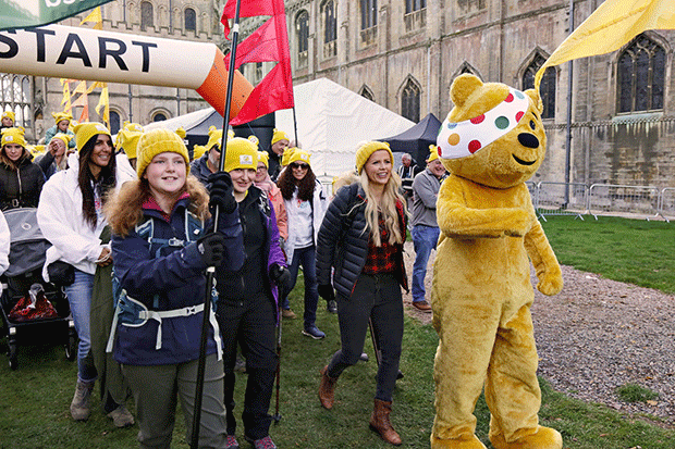 Pudsey leads ramblers through Ely, Cambridgeshire for Children in Need