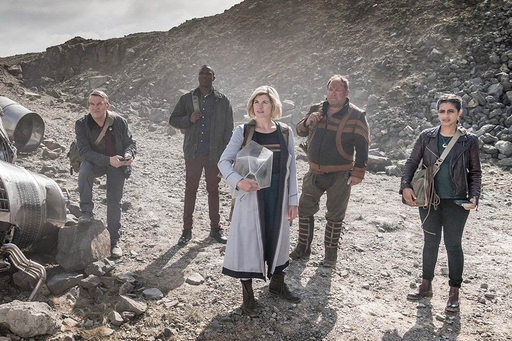 Jodie Whittaker, Mandip Gill, Bradley Walsh, Tosin Cole and Mark Addy in Doctor Who (BBC)