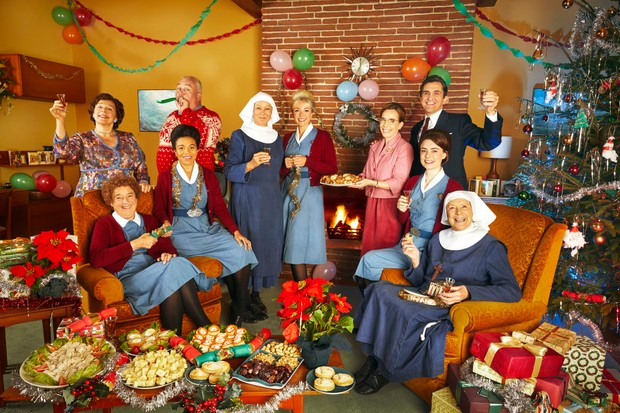 WARNING: Embargoed for publication until 00:00:01 on 30/11/2018 - Programme Name: Call the Midwife S8 - TX: 25/12/2018 - Episode: Call The Midwife S8 - Christmas Special 2018 - Iconic (No. n/a) - Picture Shows: **CHRISTMAS ICONIC EMBARGOED TILL Friday 30TH NOV 2018** Violet Buckle (ANNABELLE APSION), Nurse Phyllis Crane (LINDA BASSETT), Fred (CLIFF PARISI), Nurse Lucille Anderson (LEONIE ELLIOTT), Sister Julienne (JENNY AGUTTER), Nurse Trixie Franklin (HELEN GEORGE), Shelagh Turner (LAURA MAIN), Dr Turner (STEPHEN McGANN), Nurse Barbara Hereward (CHARLOTTE RITCHIE), Sister Monica Joan (JUDY PARFITT) - (C) Neal Street - Photographer: Nicky Johnston