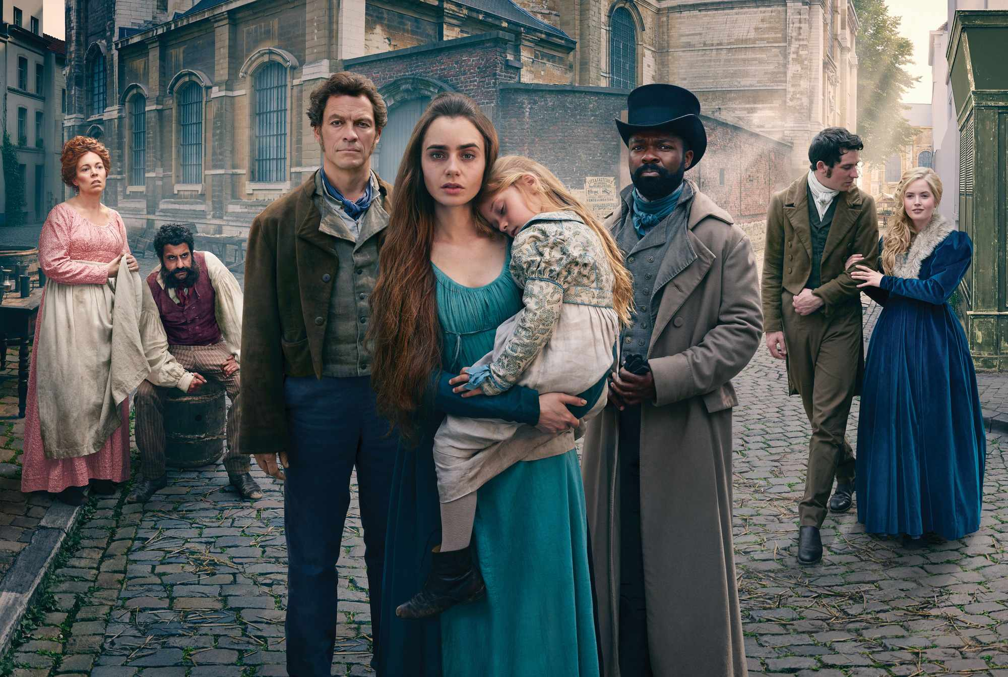 WARNING: Embargoed for publication until 00:00:01 on 11/12/2018 - Programme Name: Les Miserables - TX: n/a - Episode: Les Miserables - Generic Portraits (No. 1) - Picture Shows: **EMBARGOED FOR PUBLICATION UNTIL 00:01 HRS ON TUESDAY 11TH DECEMBER 2018** Madame Thenardier (OLIVIA COLMAN), Thenardier (ADEEL AKHTAR), Jean Valjean (DOMINIC WEST), Fantine (LILY COLLINS), Javert (DAVID OYELOWO), Marius (JOSH O'CONNOR), Cosette (ELLIE BAMBER) - (C) BBC/Lookout Point - Photographer: Mitch Jenkins