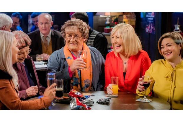WARNING: Embargoed for publication until 00:00:01 on 11/12/2018 - Programme Name: Mrs Brown's Boys Christmas and New Year Special - TX: 25/12/2018 - Episode: n/a (No. n/a) - Picture Shows: **STRICTLY EMBARGOED NOT FOR PUBLICATION BEFORE 00:01 HRS ON TUESDAY 11TH DECEMBER 2018** Winnie McGoogan (EILISH O'CARROLL), Mrs Brown (BRENDAN O'CARROLL), Cathy Brown (JENNIFER GIBNEY), Maria Brown (FIONA O'CARROLL) - (C) BBC Studios - Photographer: Alan Peebles