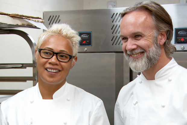Programme Name: Masterchef: The Professionals - TX: 18/12/2018 - Episode: Finals Week (No. 19 - Finals Week) - Picture Shows:  Monica Galetti, Marcus Wareing - (C) Shine TV Ltd - Photographer: Screengrab