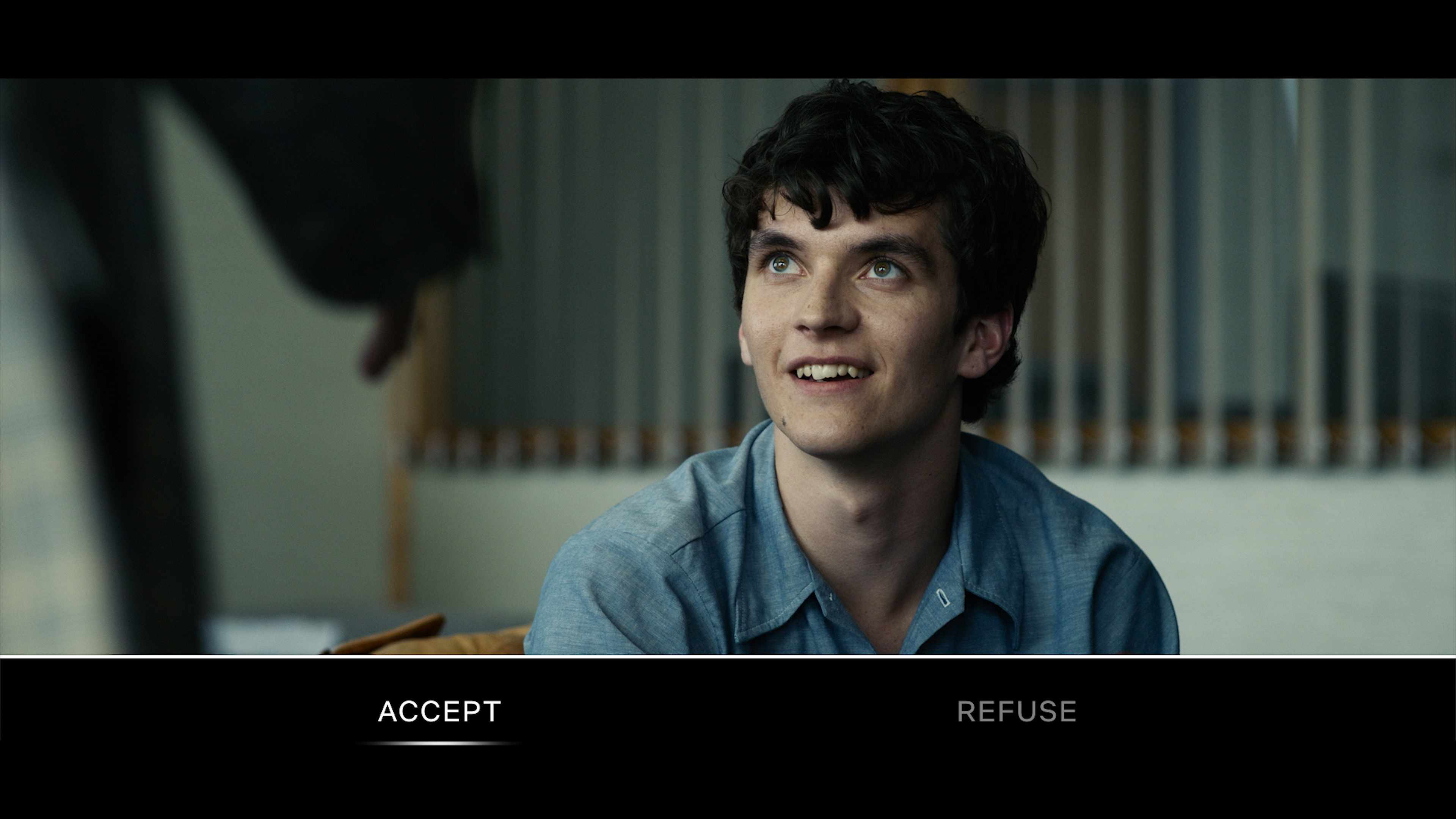 "Pictured - Fionn Whitehead during one of Bandersnatch's ""choice points"""