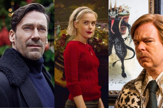 Jon Hamm in Black Mirror, Kiernan Shipka in Chilling Adventures of Sabrina and Steven Pemberton in Inside No. 9 (Netflix, BBC)