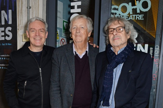 """LONDON, ENGLAND - NOVEMBER 06: (L to R) Neil McCormick, Dick Clement and Ian La Frenais pose outside the Soho Theatre to launch their new Irish comedy """"Chasing Bono"""" on November 6, 2018 in London, England. Pic Credit: Dave Benett *** Local Caption *** Neil McCormick; Dick Clement; Ian La Frenais"""