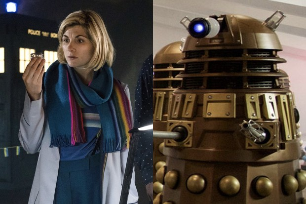 Jodie Whittaker in Doctor Who with a Dalek (BBC)