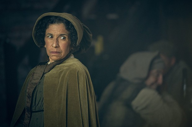 Female foreman Madame Victurnien played by Kathryn Hunter in Les Miserables
