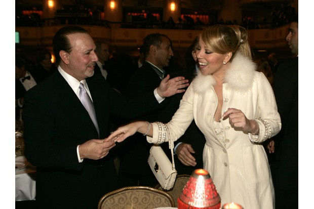Tommy Mottola and Mariah Carey during 20th Annual Rock and Roll Hall of Fame Induction Ceremony - Dinner at Waldorf Astoria in New York City, New York, United States. (Photo by KMazur/WireImage)