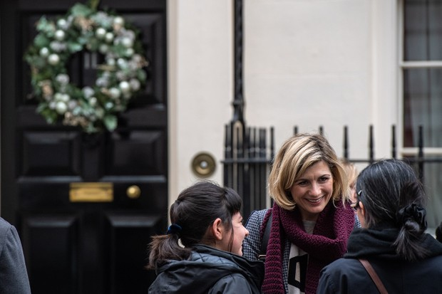 Jodie Whittaker attends a Children's Christmas Party at 11 Downing Street in aid of