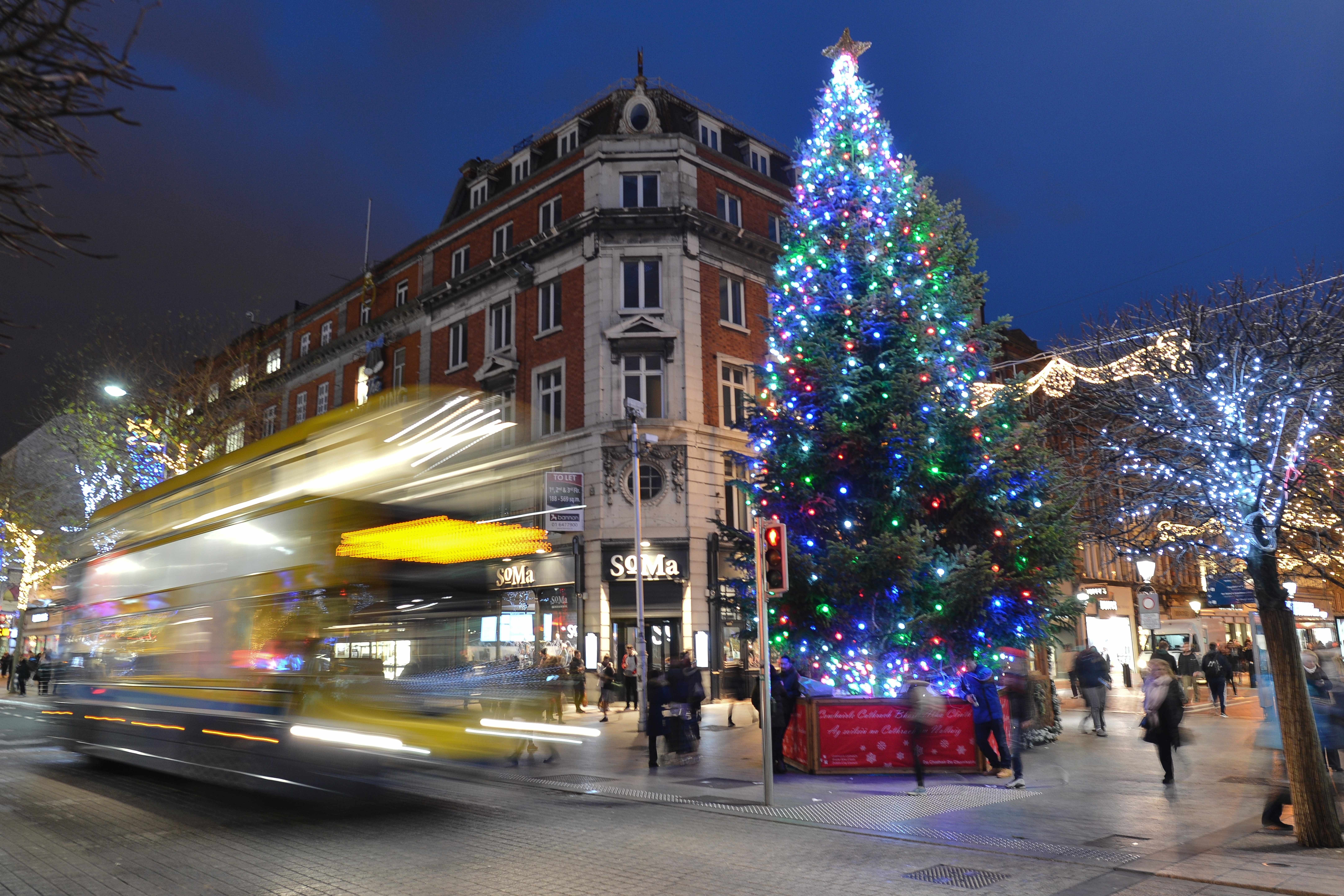 A view of a Christmas tree on Dublin's O'Connell Street, during the Christmas Season 2018. On Tuesday, December 11, 2018, in Dublin, Ireland. (Photo by Artur Widak/NurPhoto via Getty Images)