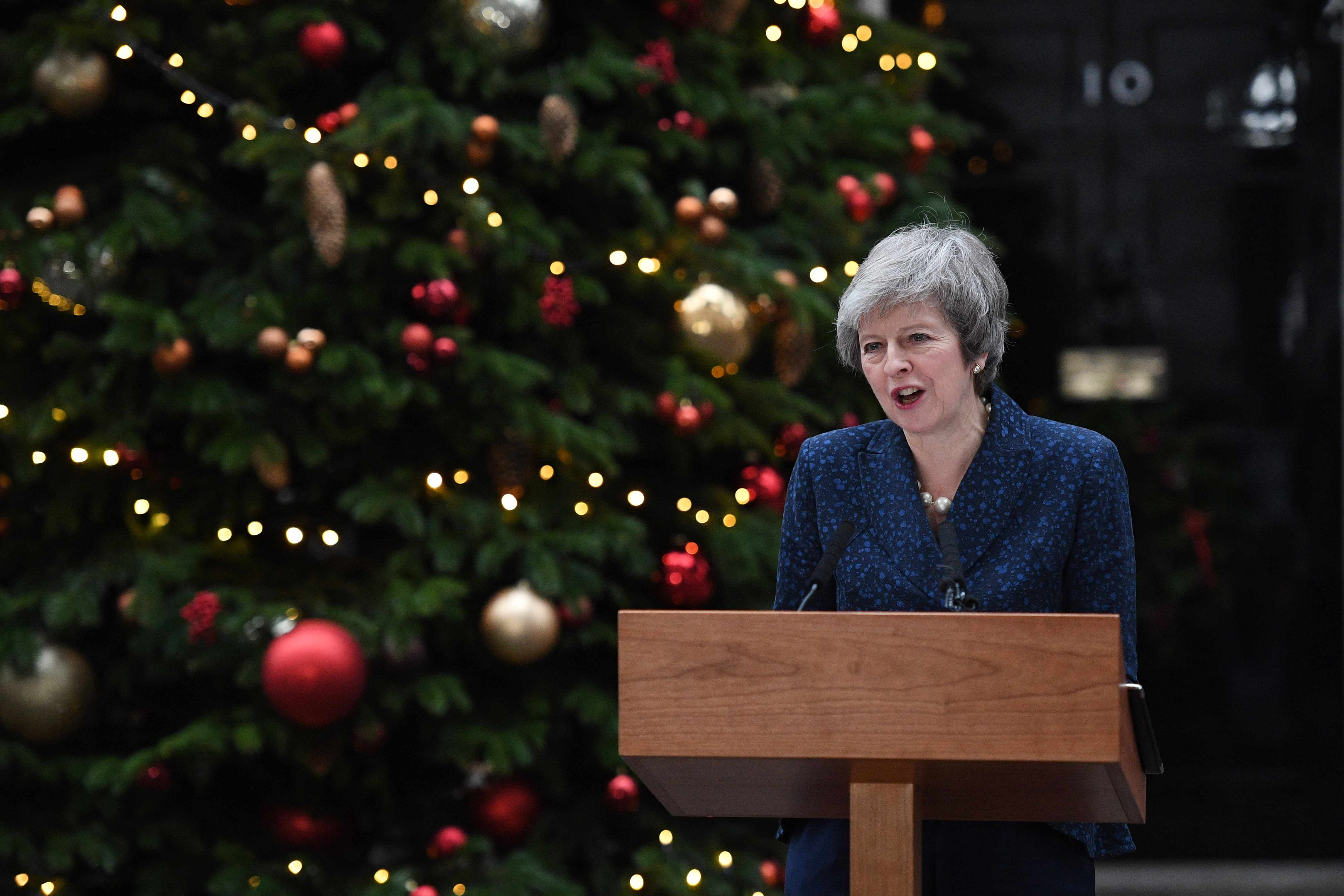 Prime Minister Theresa May makes a statement in Downing Street after it was announced that she will face a vote of no confidence (Getty)