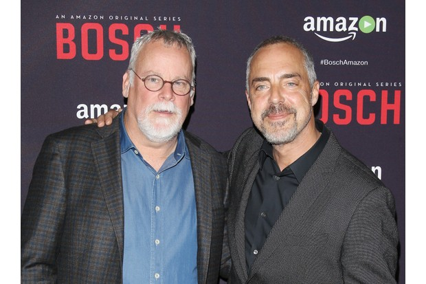 """WEST HOLLYWOOD, CA - MARCH 03: Michael Connelly (L) and Titus Welliver arrive at the premiere of Amazon's """"Bosch"""" season 2 held at SilverScreen Theater at the Pacific Design Center on March 3, 2016 in West Hollywood, California. (Photo by Michael Tran/FilmMagic)"""