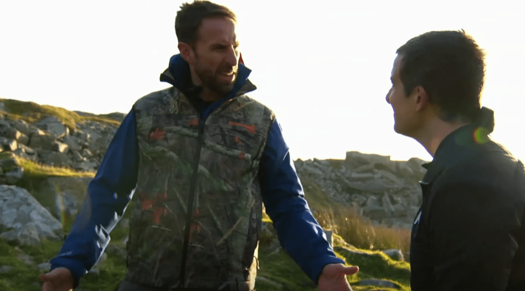Gareth Southgate wears camouflage waistcoat for Bear Grylls survival series