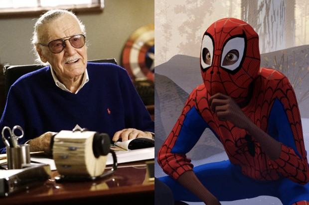 Stan Lee with Spider-Man: Into the Spider-verse's Miles Morales (Getty, Sony)