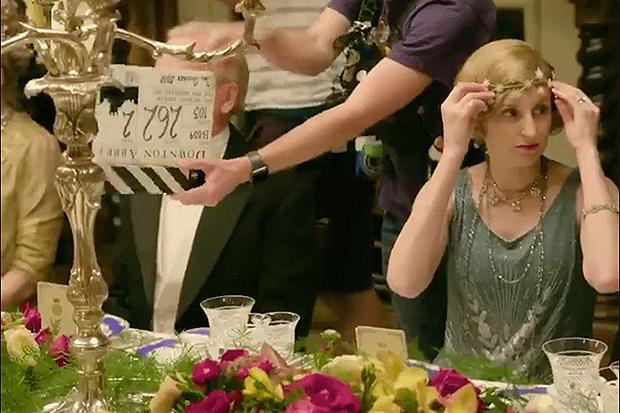 Laura Carmichael in Downton Abbey film, Twitter screengrab