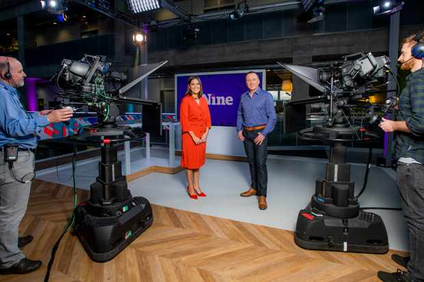 WARNING: Embargoed for publication until 13:00:00 on 28/11/2018 - Programme Name: The Nine - TX: n/a - Episode: n/a (No. n/a) - Picture Shows: The set of The Nine, BBC Scotland's news programme. Pacific Quay, Glasgow  - (C) BBC Scotland - Photographer: Alan Peebles