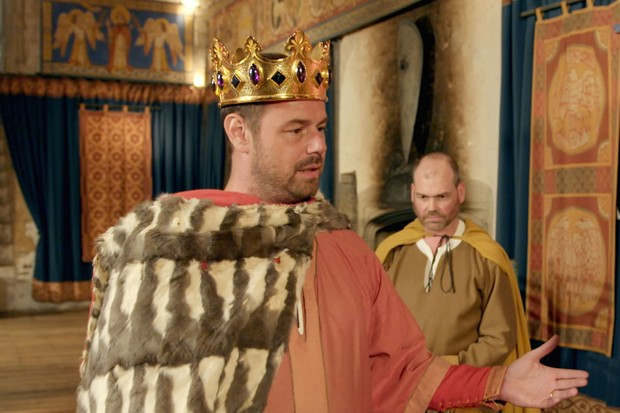 Programme Name: Danny Dyer's Right Royal Family - TX: 23/01/2019 - Episode: Danny Dyer's Right Royal Family - ep 1 (No. 1) - Picture Shows: dressed as Henry II at Dover Castle. Danny Dyer - (C) Wall to Wall Media - Photographer: Screen grab