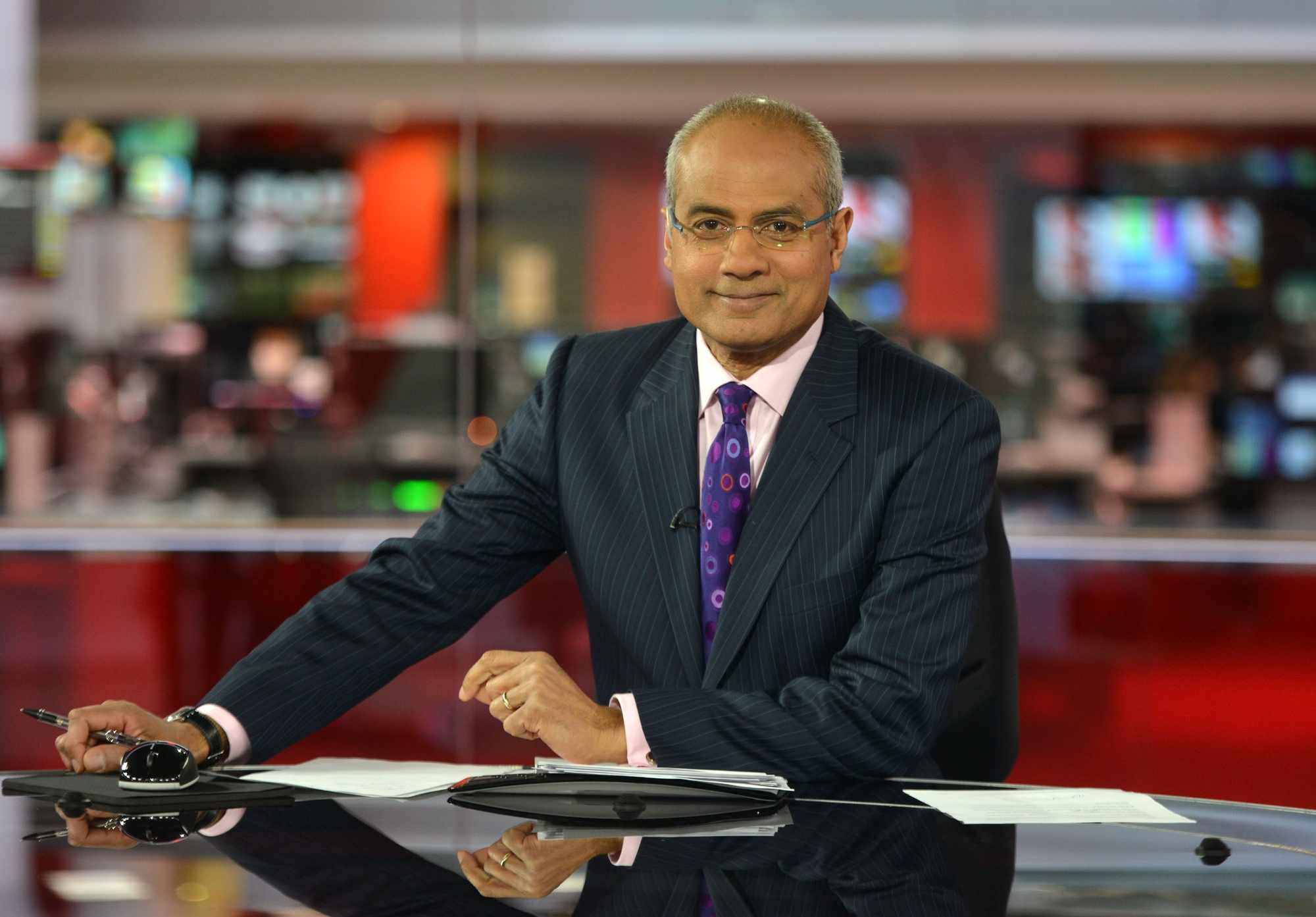 WARNING: Embargoed for publication until 18/03/2013 - Programme Name: BBC News - TX: n/a - Episode: n/a (No. n/a) - Picture Shows: The new BBC newsroom studio, used for the News at One, Six and Ten and the BBC News Channel George Alagiah - (C) BBC - Photographer: Jeff Overs