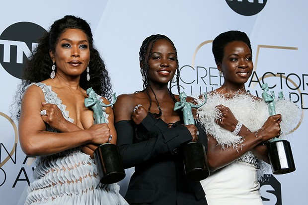 "Angela Bassett, Lupita Nyong'o and Danai Gurira winners of Outstanding Performance by a Cast in a Motion Picture for ""Black Panther"" pose in the press room during the 25th Annual Screen Actors Guild Awards at the Shrine Auditorium in Los Angeles on January 27, 2019"