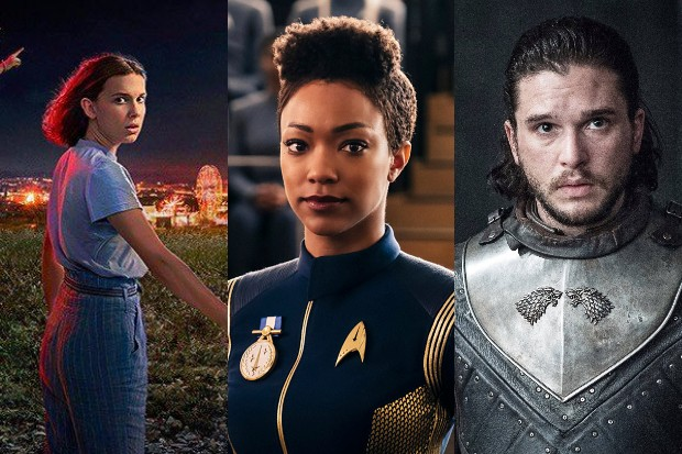 Millie Bobby Brown in Stranger Things, Sonequa Martin-Green in Star Trek: Discovery and Kit Harington in Game of Thrones (Netflix, HBO)